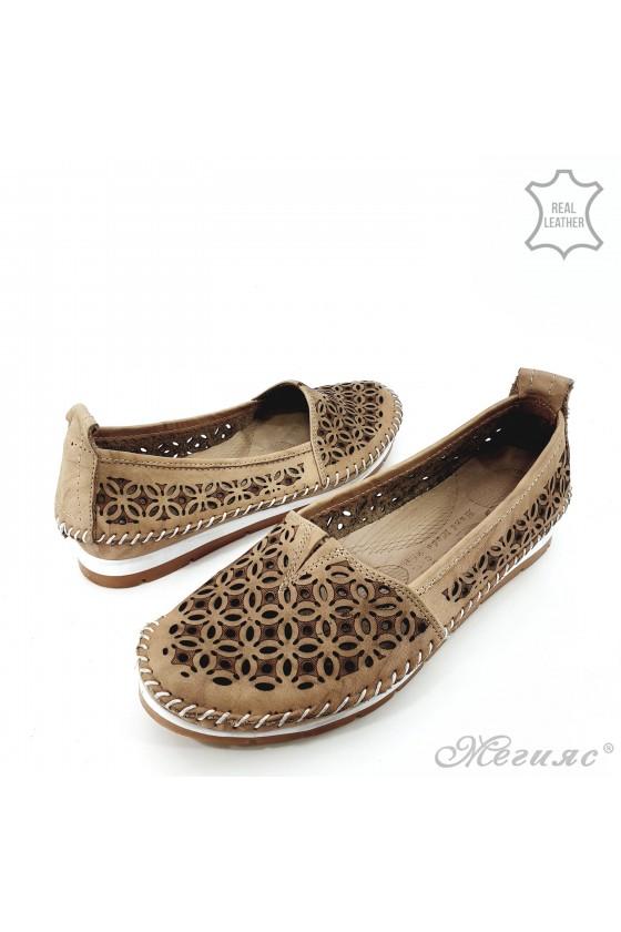 Дамски обувки от естествена кожа бежови 68