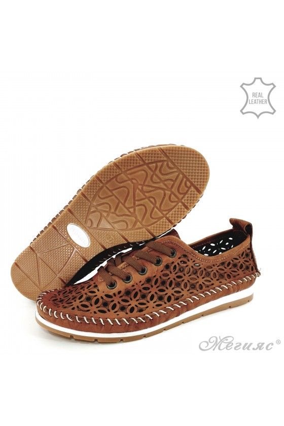 Lady shoes taba leather 66
