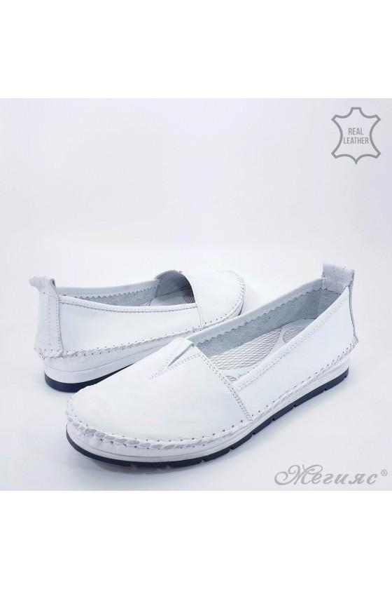 Дамски обувки от естествена кожа бели 63