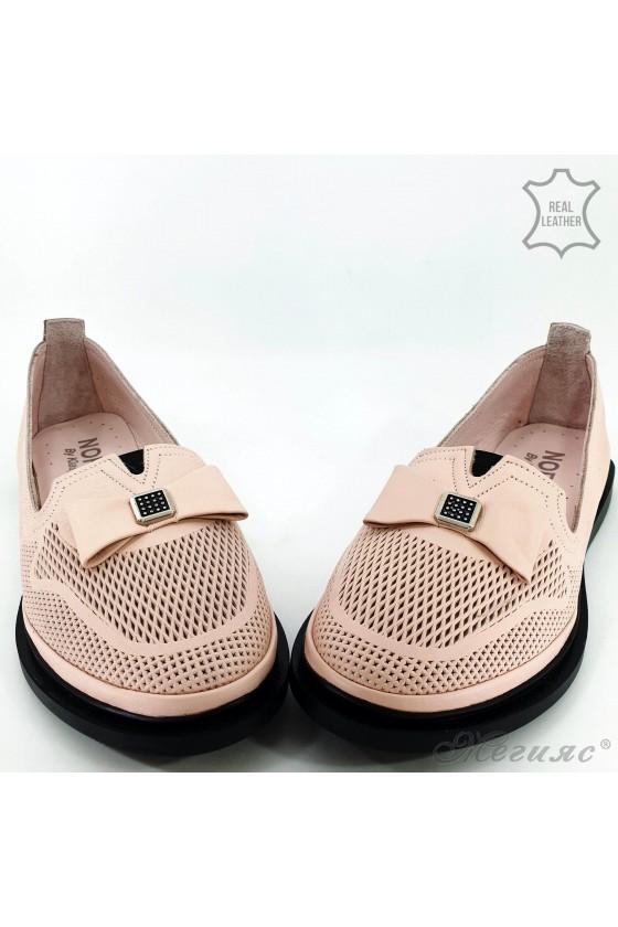 Дамски обувки от естествена кожа пудра 256