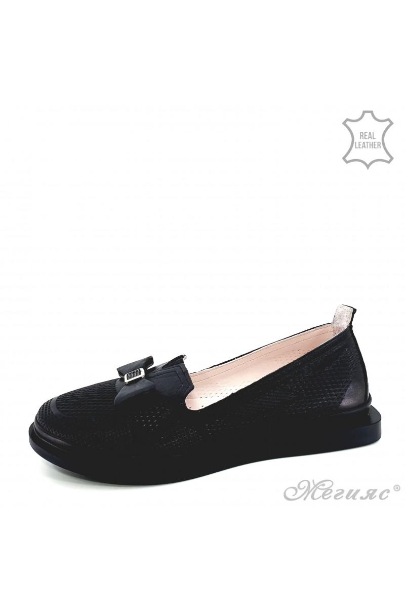 Дамски обувки от естествена кожа черни 256