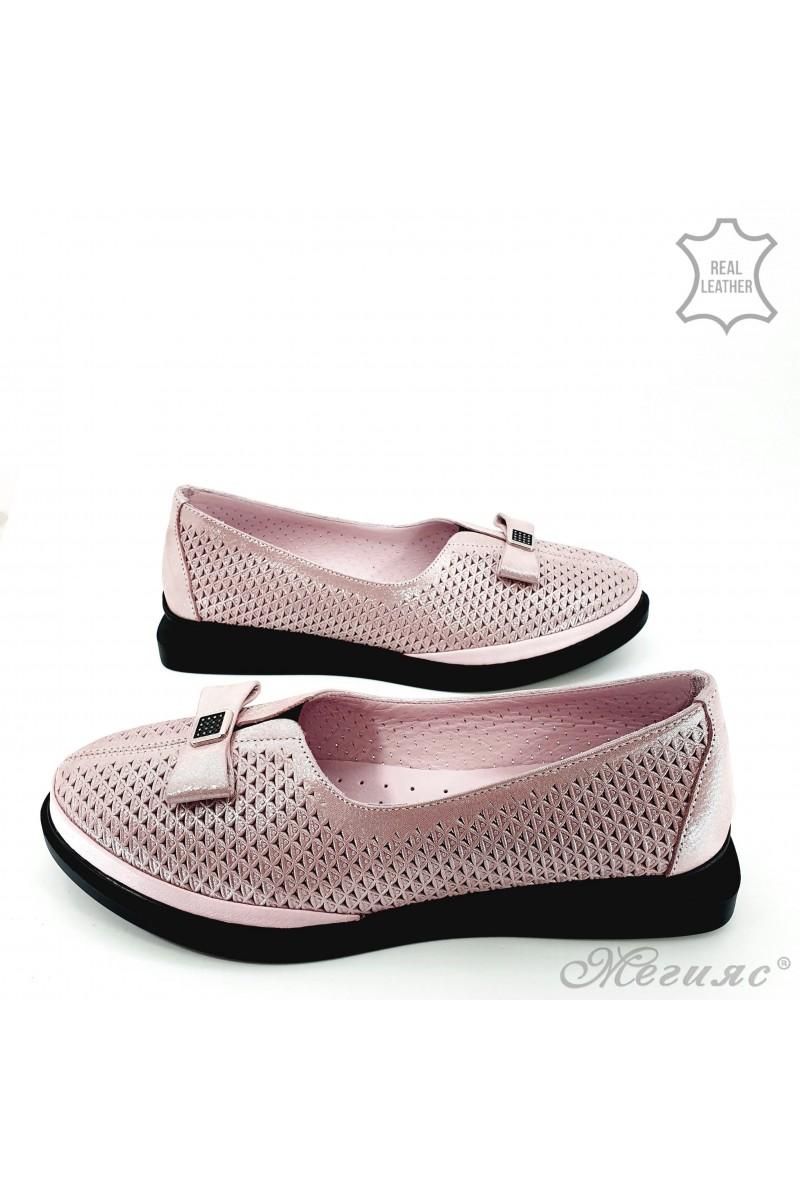 Дамски обувки от естествена кожа пудра на дупки