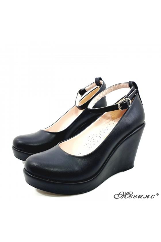 Lady  platform shoes 0215 black pu