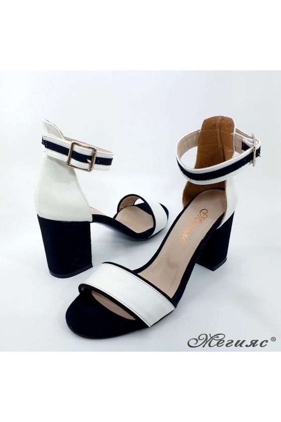 Дамски сандали черни с бяло 1010