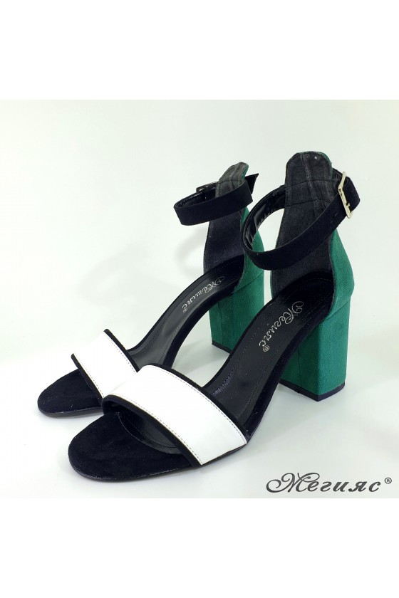 Lady sandals green+white 1010