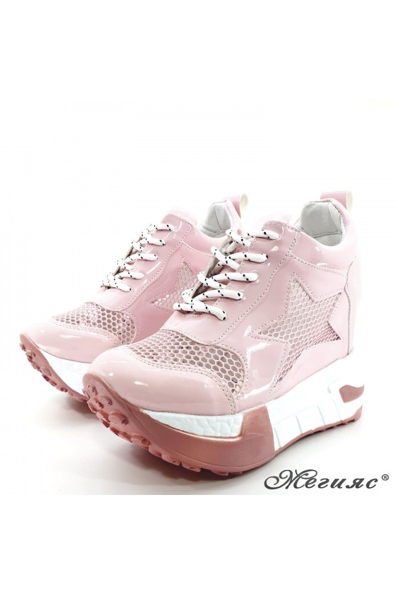 Lady shoes pink shine with high platform 005