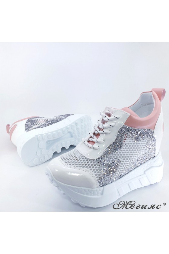 Lady shoes white shine with high platform 005