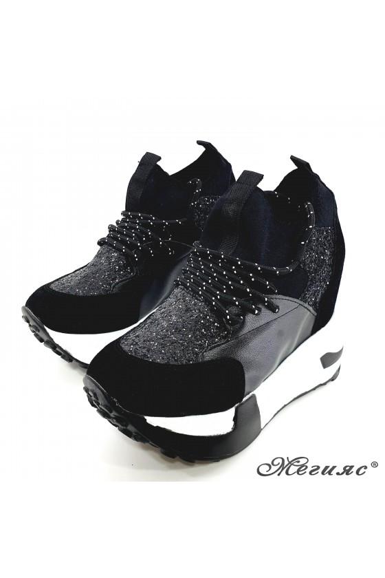 Lady shoes black pu with high platform 7523