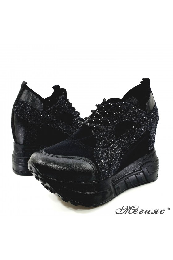 Lady shoes black pu with high platform 0525