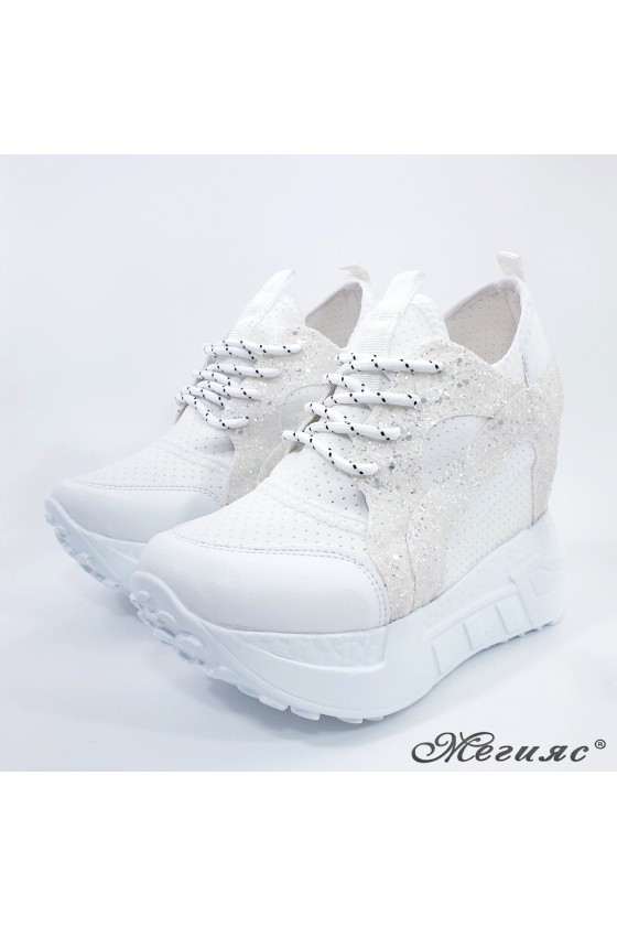 Lady shoes white pu with high platform 0525