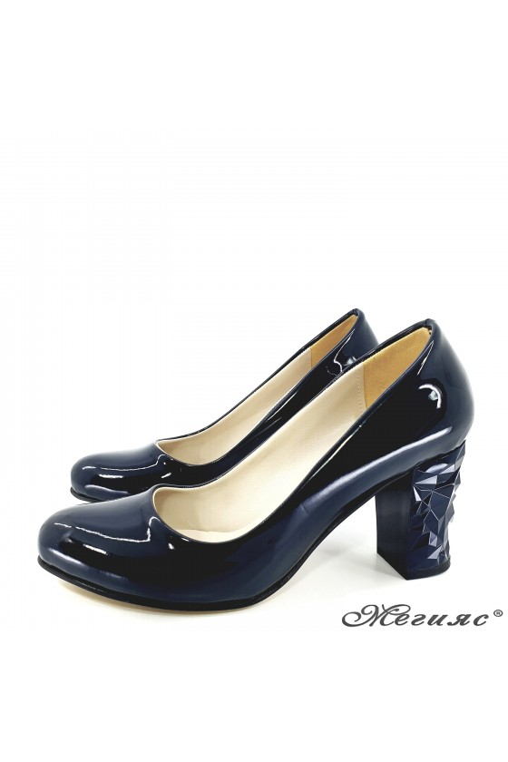 copy of Lady elegant shoes 991 blue patent with middle heel