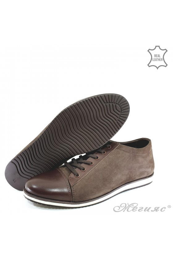Men's shoes 18201 brown leather