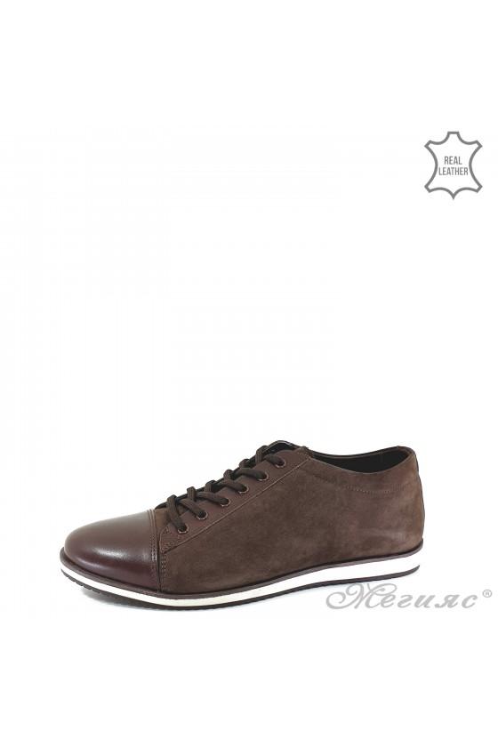 Мъжки обувки спортни от естествена кожа кафяви