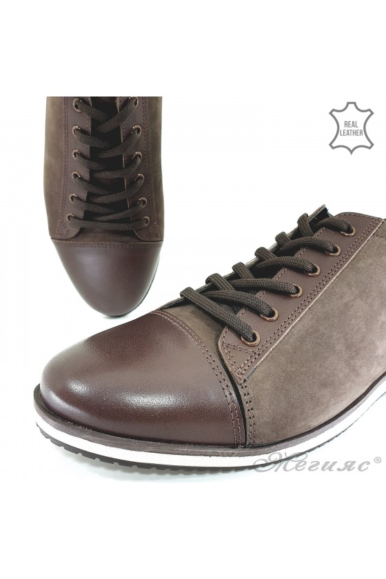 Мъжки обувки спортни от естествена кожа кафяви Фантазия 18201