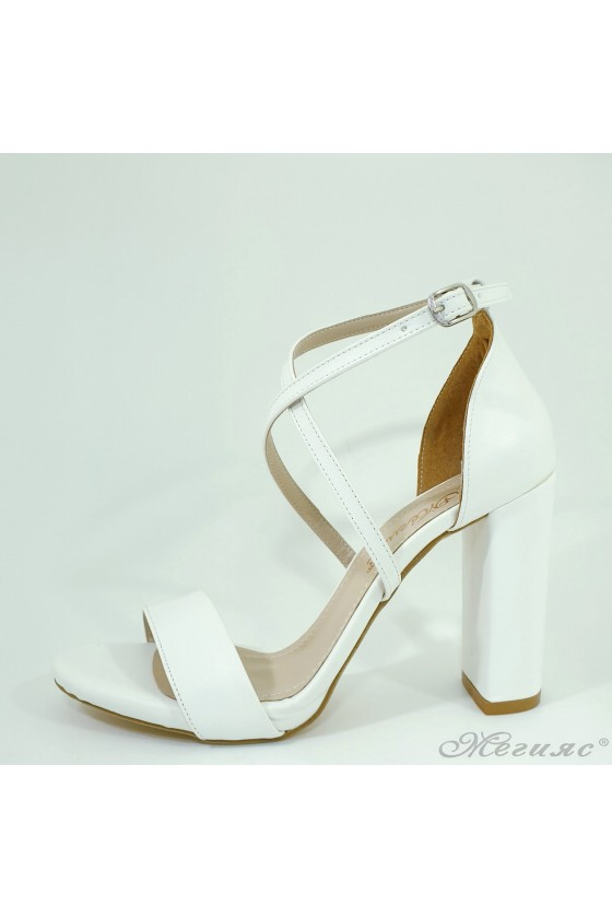 Lady sandals white pu with...