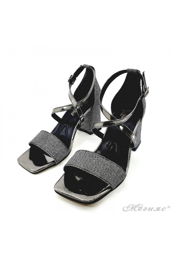 Lady dk grey sandals with high heels 501-278