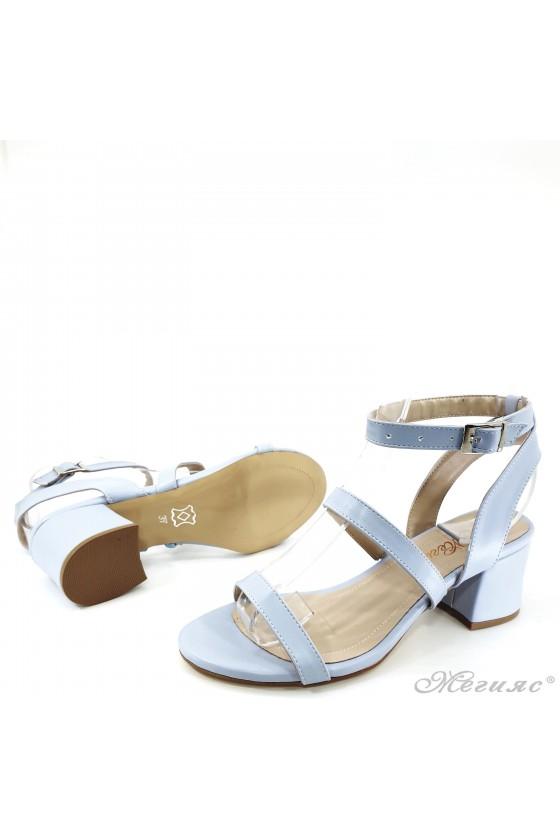 Дамски сандали на ток сини 1022