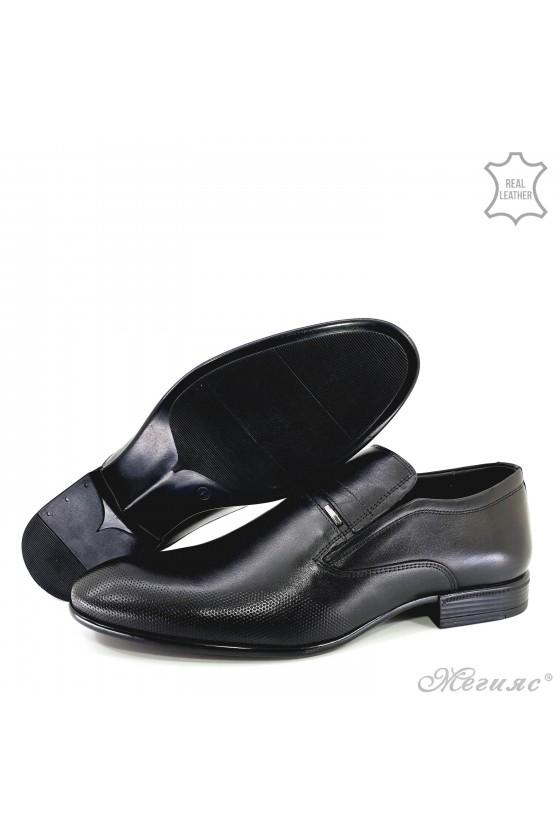 Мъжки обувки от естествена кожа черни 12208-57
