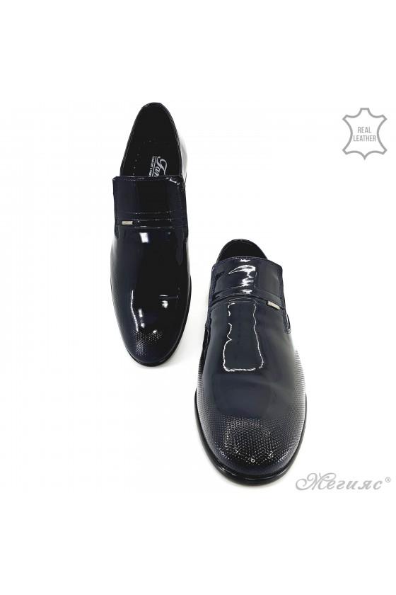 Мъжки обувки от естествен лак сини 12208-57