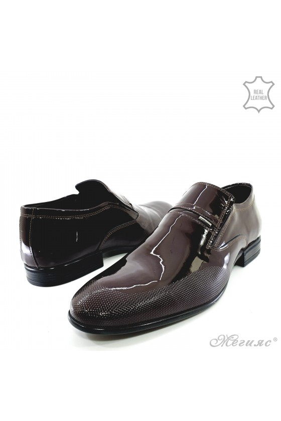 copy of Men's elegant shoes 12208-57 bordo leather