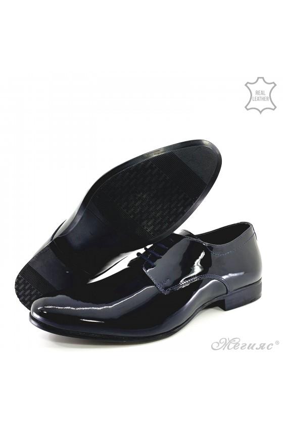 Мъжки обувки елегантни от естествен лак сини 8060