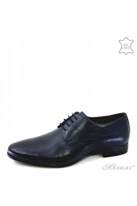 Мъжки обувки елегантни от естествена кожа сини 8060