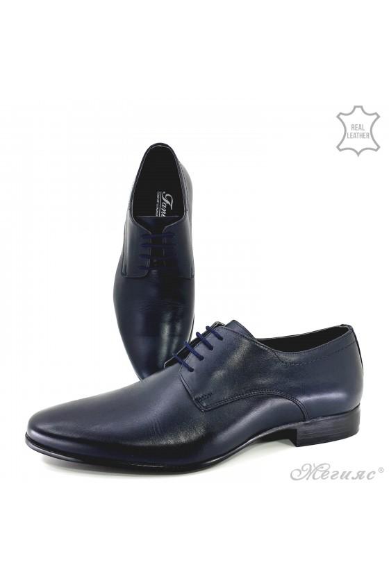 Мъжки обувки от естествена кожа сини 8060