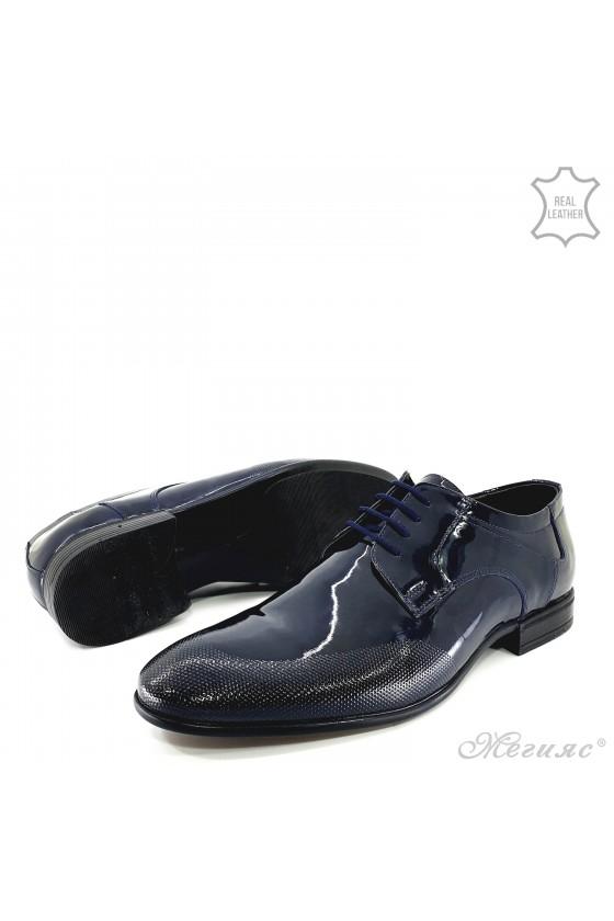 Мъжки елегантни обувки от естествен лак сини 12209-57