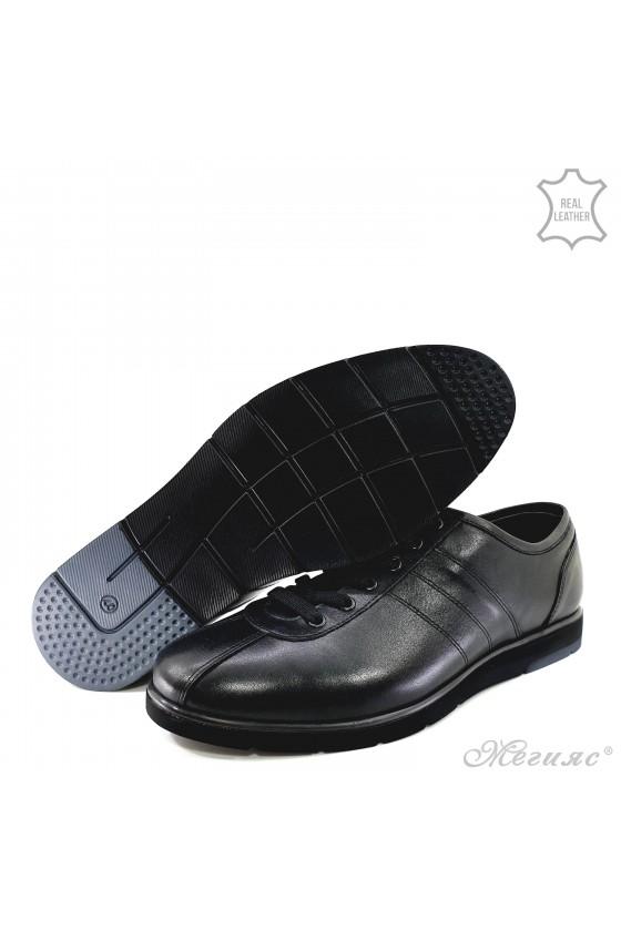Мъжки обувки от естествена кожа черни 18202