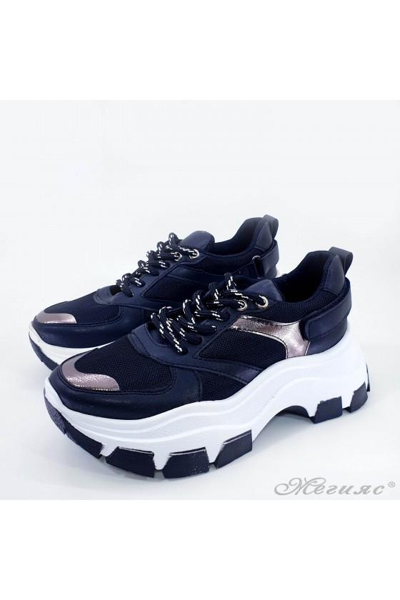 Дамски спортни обувки еко кожа и текстил черно с бакър 3132