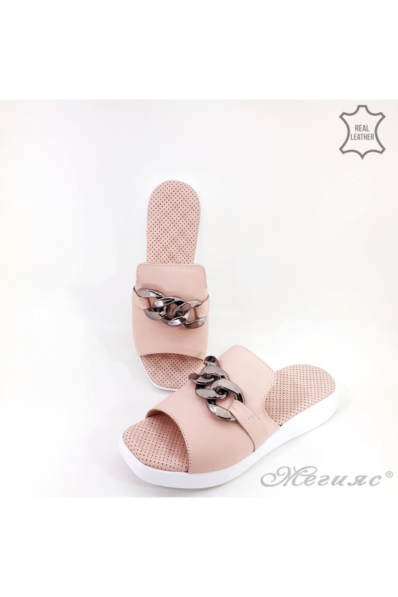 Lady flippers pink leather 2888
