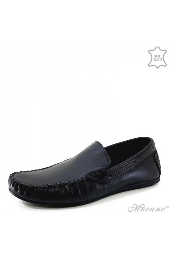 Men shoes black leather 502