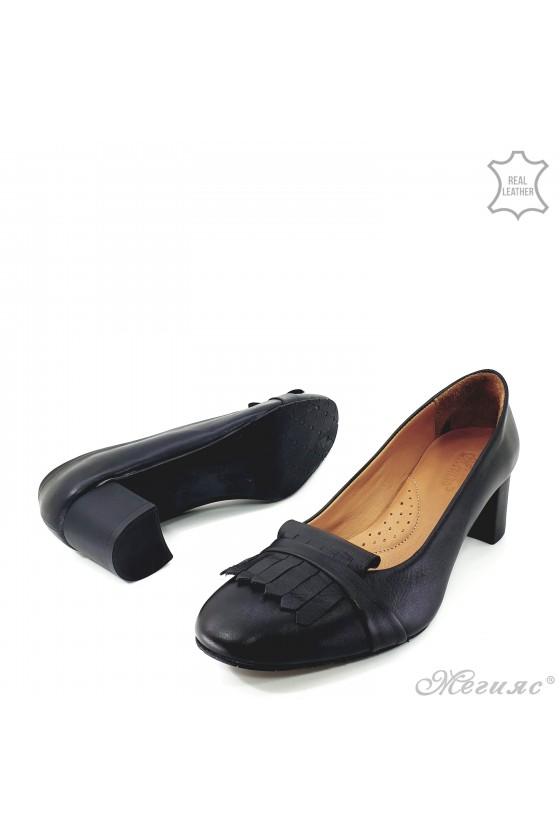 Дамски обувки от естествена кожа черни 3019