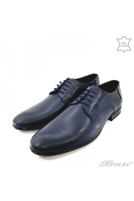 Мъжки елегантни обувки от естествена кожа сини 12209-57