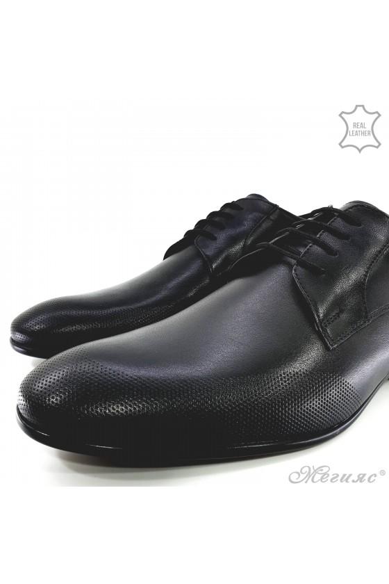 Мъжки елегантни обувки от естествена кожа черни 12209-57