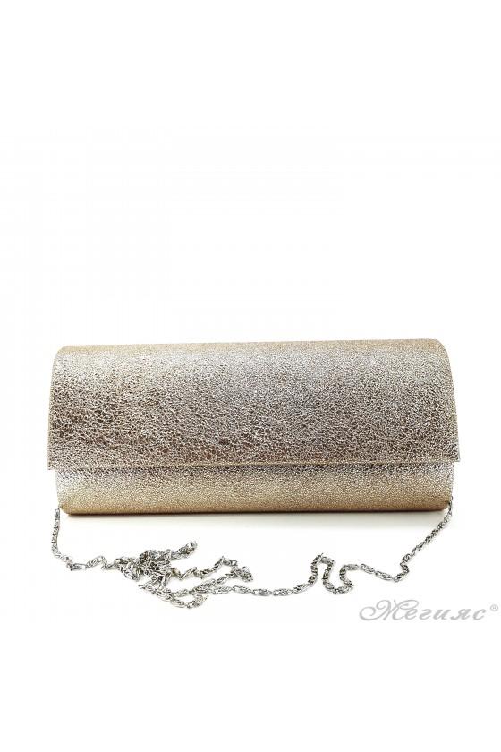 Дамска чанта от мачкана еко кожа златна 373