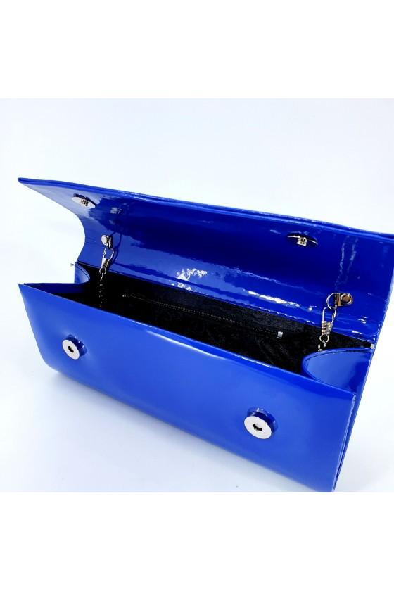 Дамска чанта от еко лак ярко синя 373