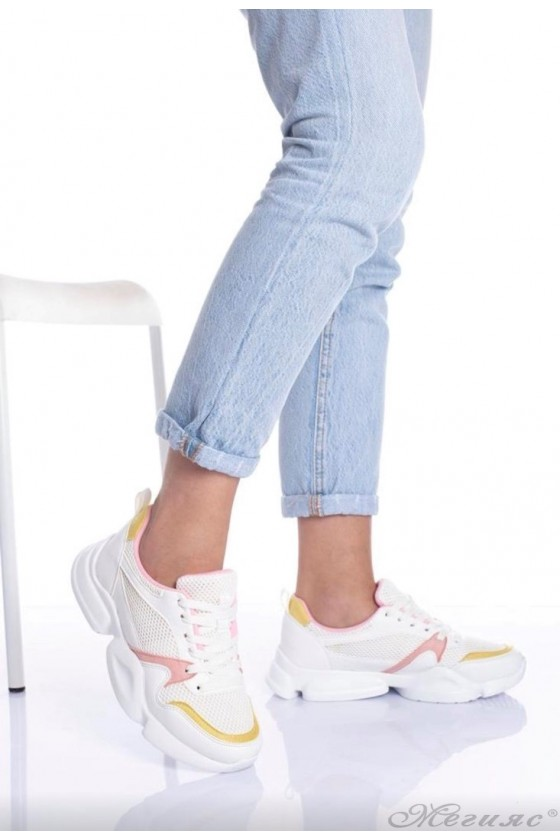 Lady shoes white and pink 5053