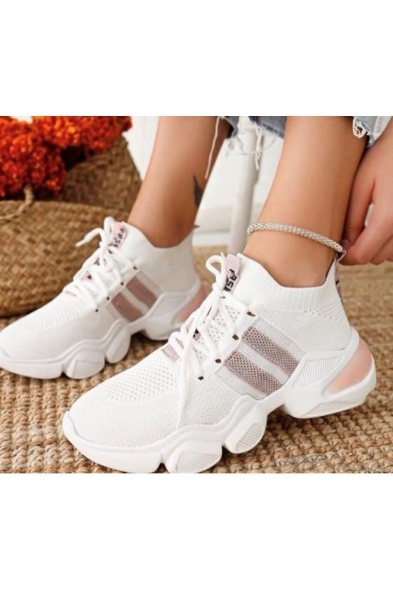 1033 Lady sports shoes white and pudra