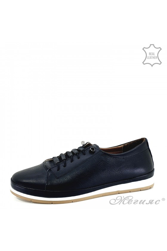 Lady shoes black leather 309-1