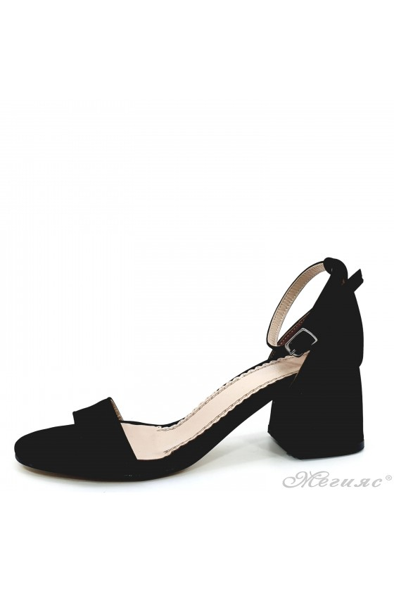 Lady sandals with heels black 0257
