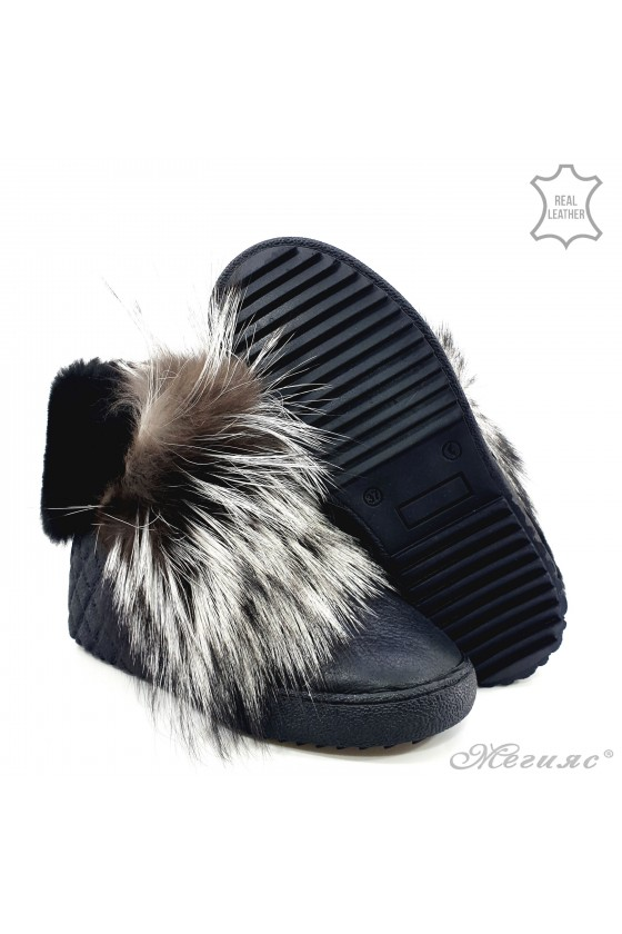 Women boots 17224 black leather