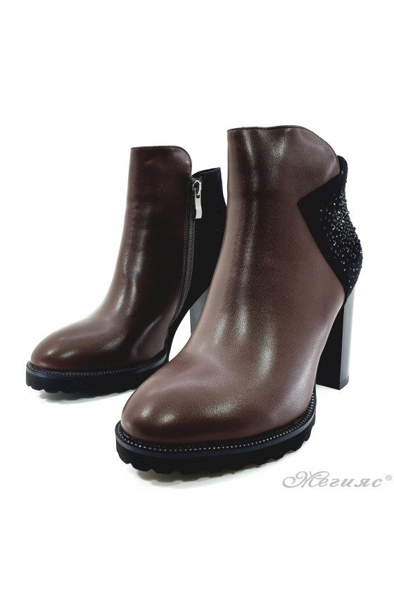 Lady boots  Christine 20w18-345 brown pu with black suede