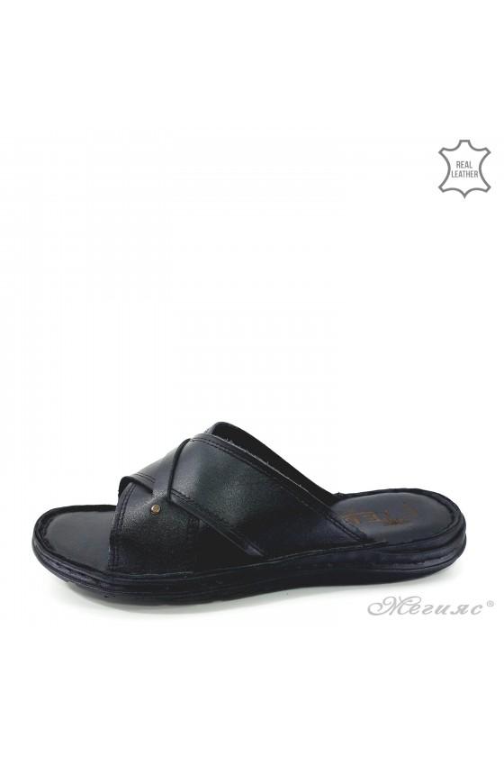 Мъжки чехли естествена кожа XXL черна кожа 02