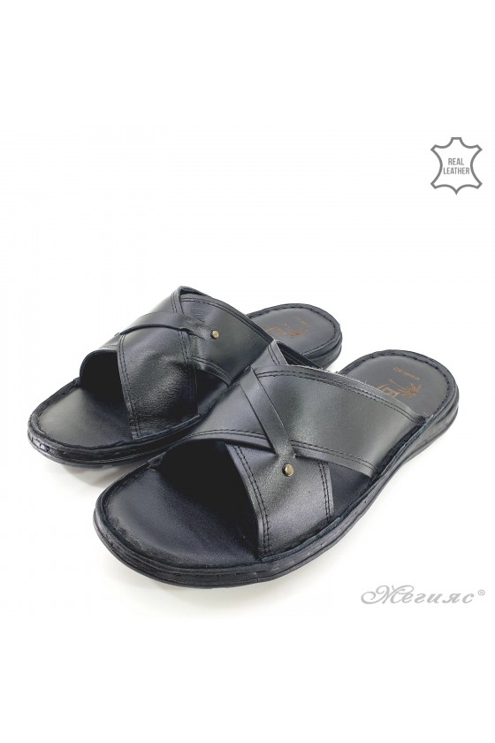 Men flippers big size black leather 02