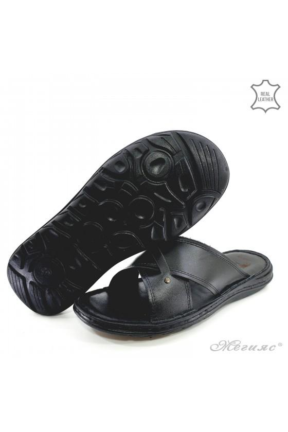 Мъжки чехли естествена кожа XXL черни 02