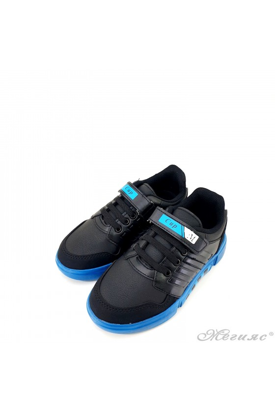 Children's shoes black and blue 4455