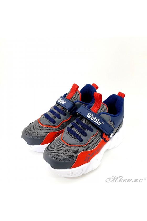 Детски маратонки сиво и червено 4456