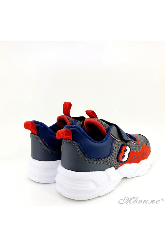 Children's shoes grey and red 4456