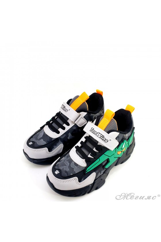 Детски маратонки черно и зелено 4457